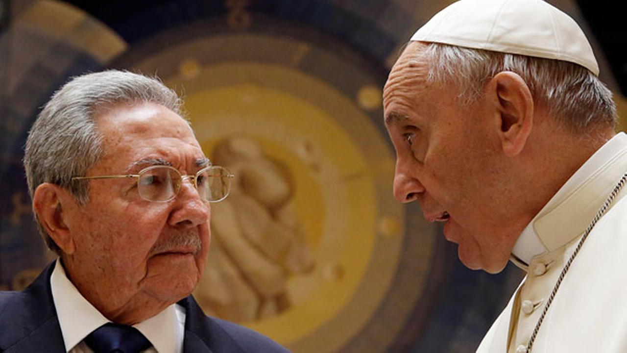 Pope Francis meets Cuban President Raul Castro during a private audience at the Vatican, Sunday, May 10, 2015.