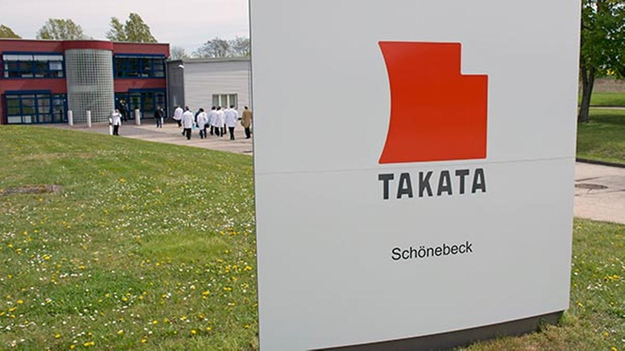 FILE - In this Thursday, April 17, 2014, file photo, journalists visit Takata Ignition Systems in Schoenebeck, Germany.