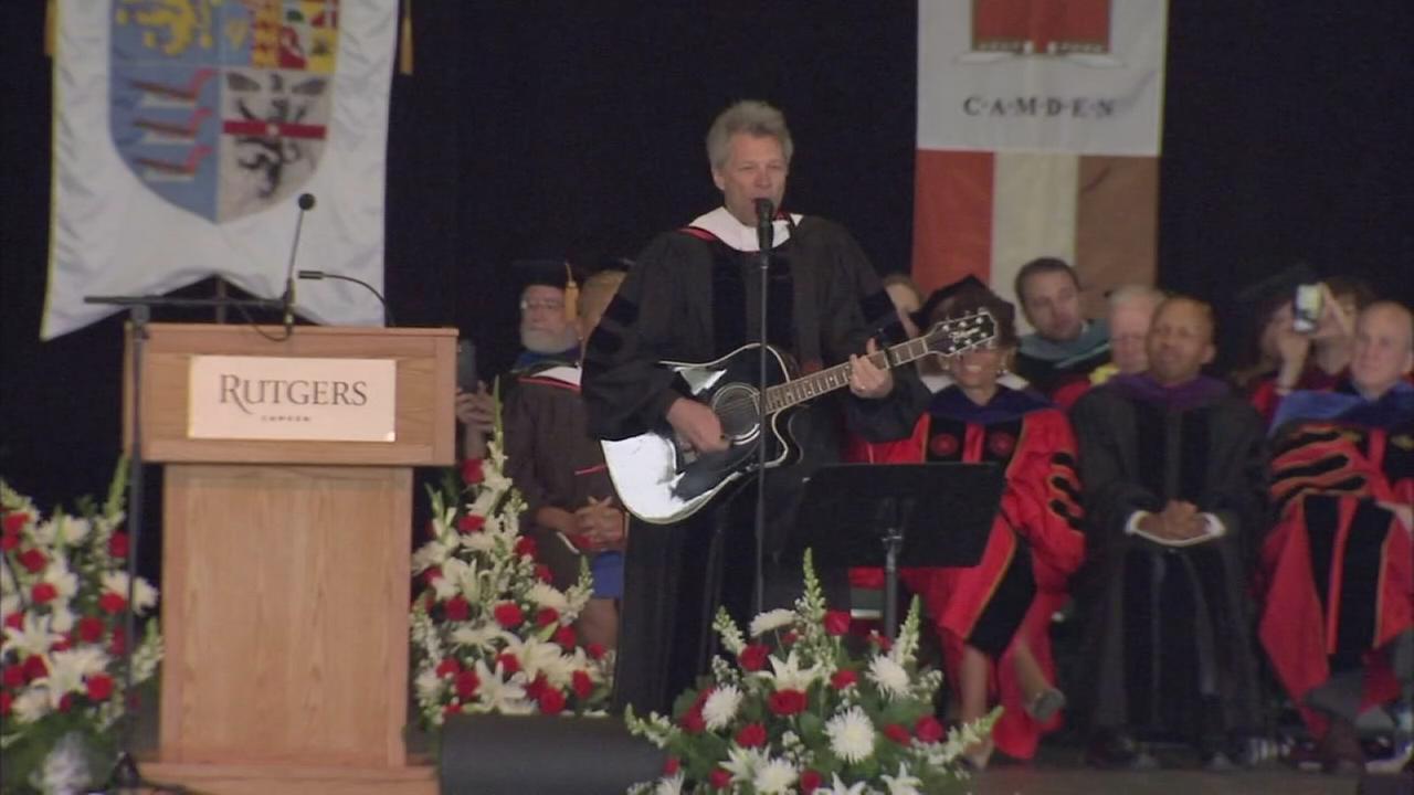 VIDEO: Jon Bon Jovi performs new song a Rutgers-Camden graduation
