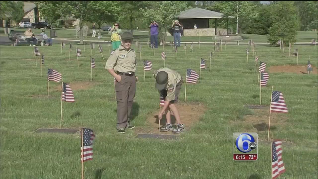 VIDEO: NJ scouts plant Memorial Day flags on 58K graves