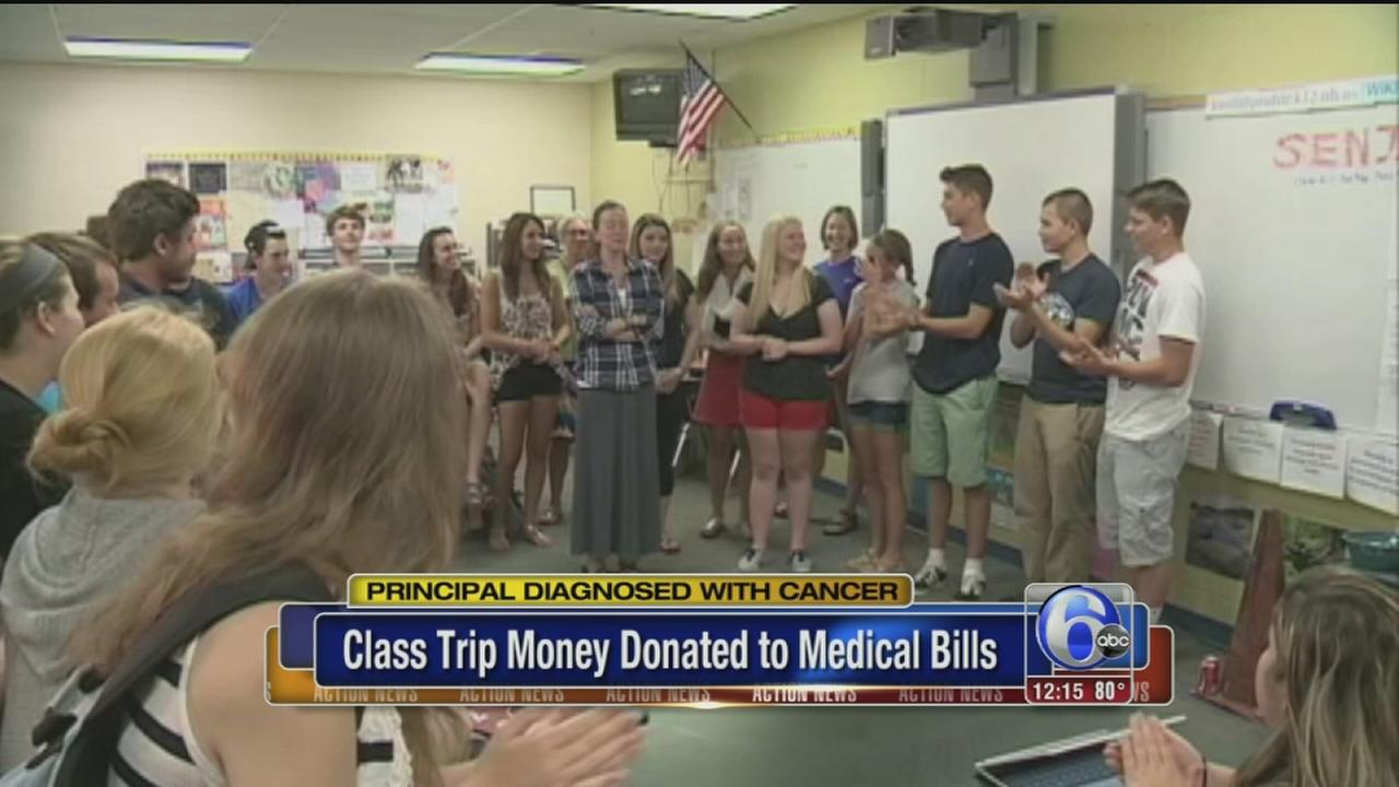 VIDEO: Students give up class trip to help principal fight cancer