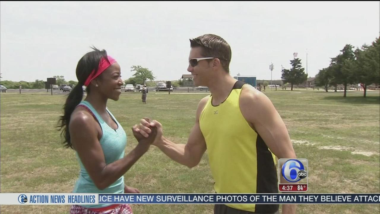 VIDEO:  Adam, Melissa race to top of Cape May Lighthouse