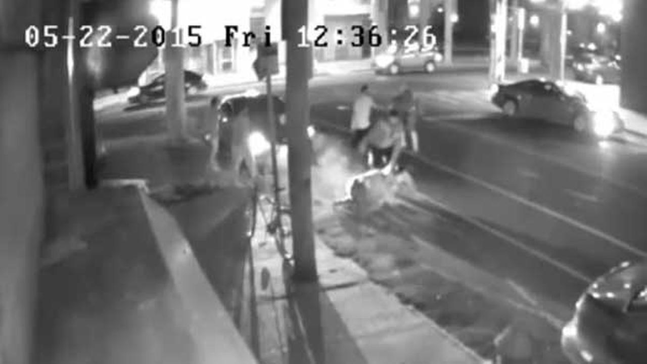 Philadelphia police are searching for a group of men who attacked two men in the citys Kensington section.