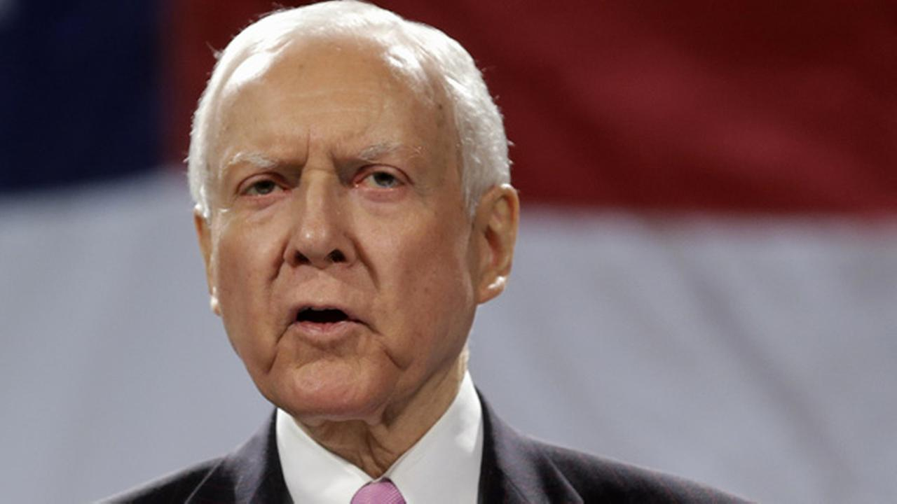 FILE - In this April 26, 2014, file photo, Sen. Orrin Hatch, R-Utah speaks in Sandy, Utah.
