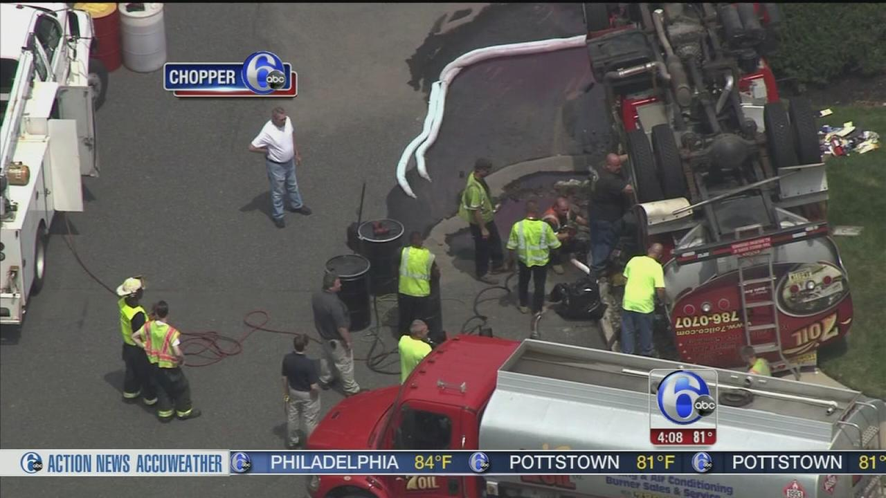 VIDEO: Oil truck overturns in Mt. Laurel