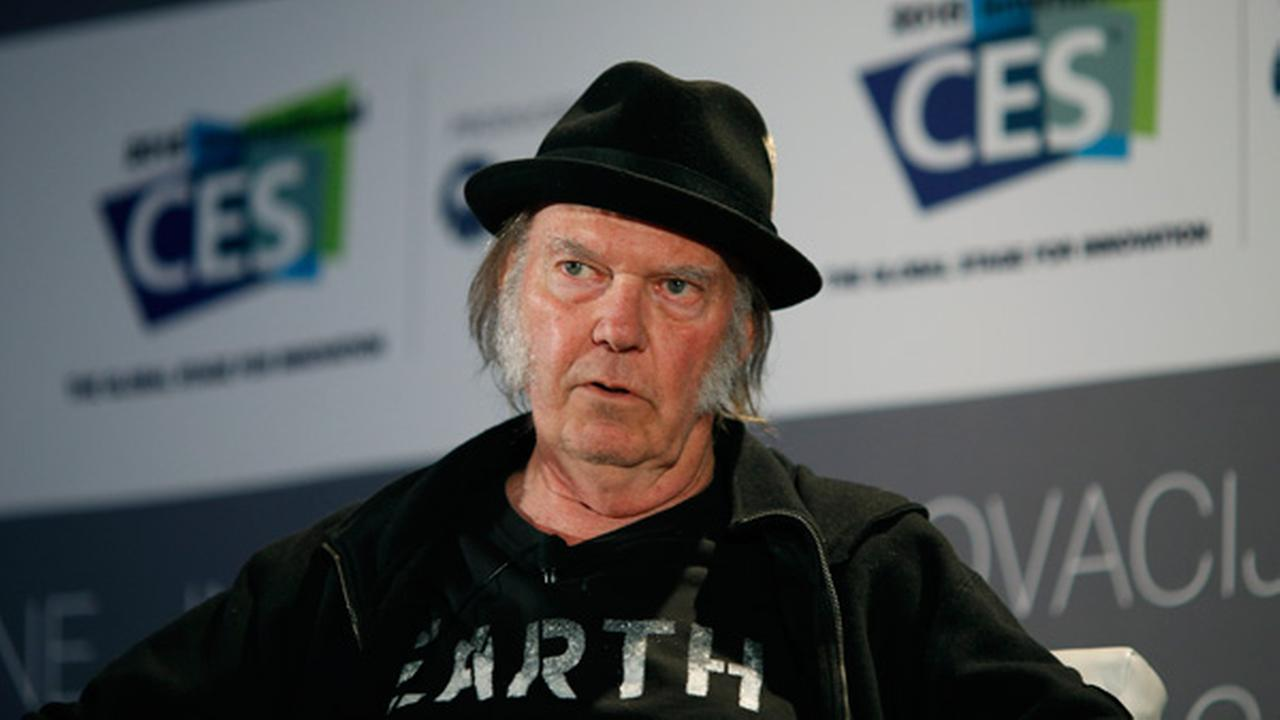 Musician Neil Young speaks during a session at the International CES Wednesday, Jan. 7, 2015, in Las Vegas.