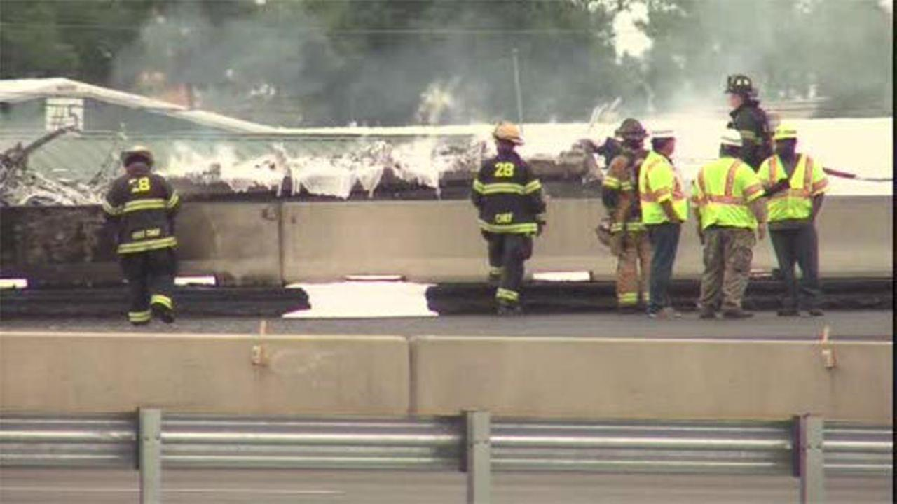 Fuel truck fire closes EB lanes of Pa. Turnpike in Bensalem