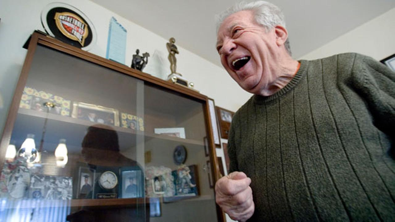 FILE-  Harvey Pollack laughs during an interview at his home in Philadelphia Tuesday Feb. 19, 2008