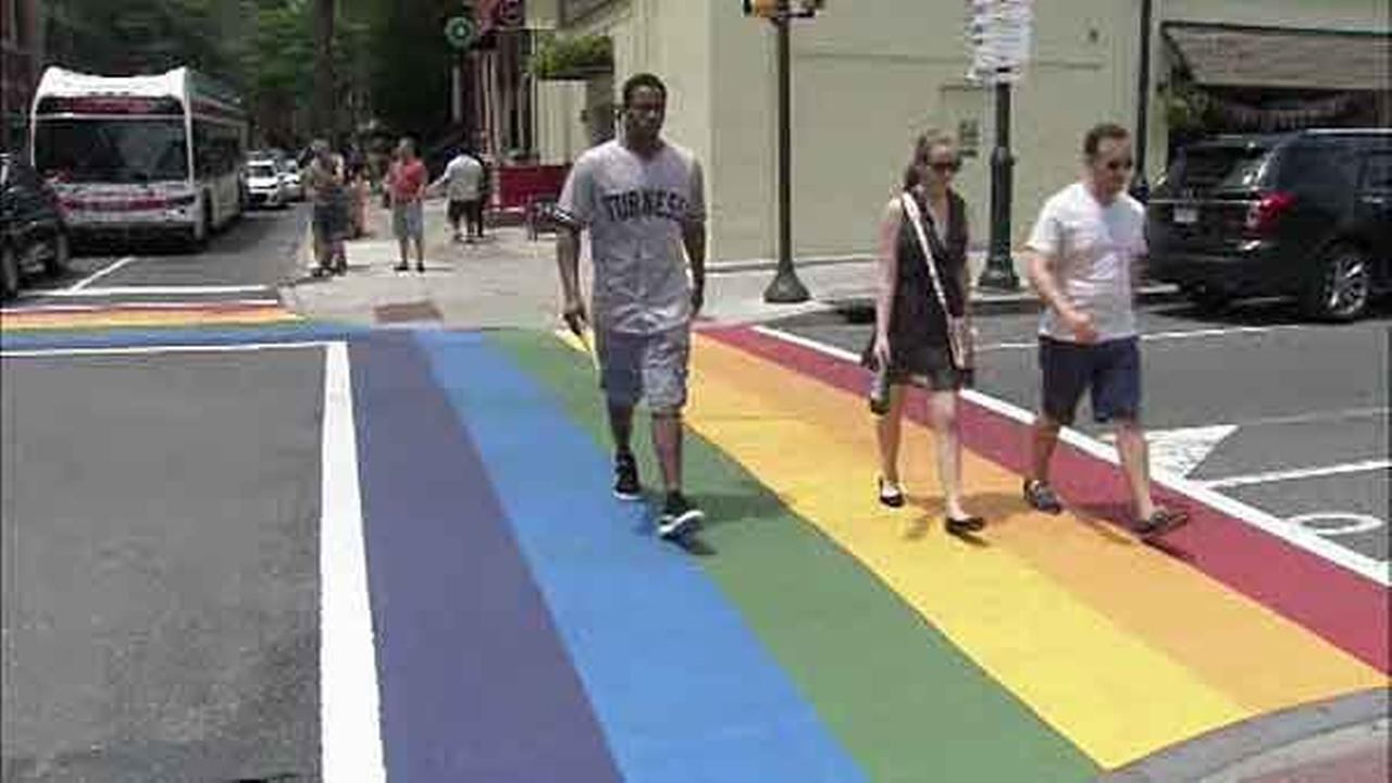 The rainbow crosswalks are part of an overall movement in support of Philadelphias LGBT community.