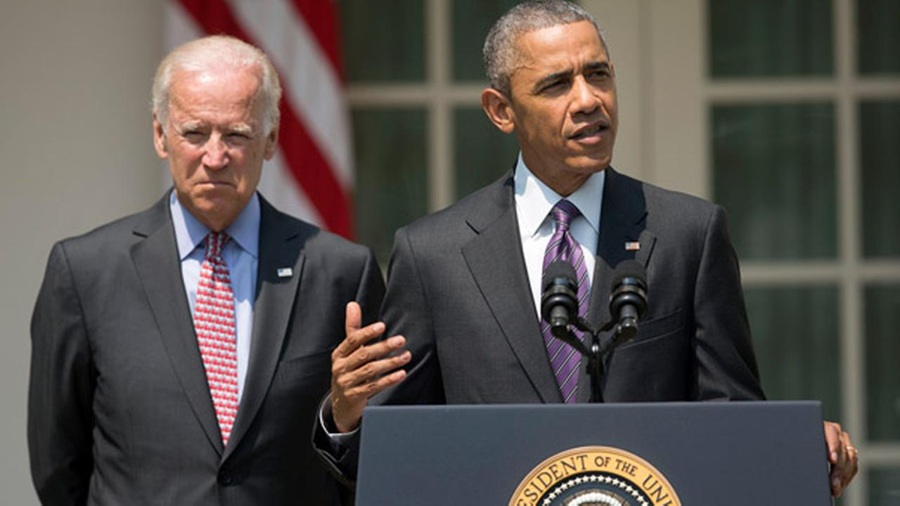 President Barack Obama, accompanied by Vice President Joe Biden, speaks in the Rose Garden of the White House in Washington, Wednesday, July 1, 2015.
