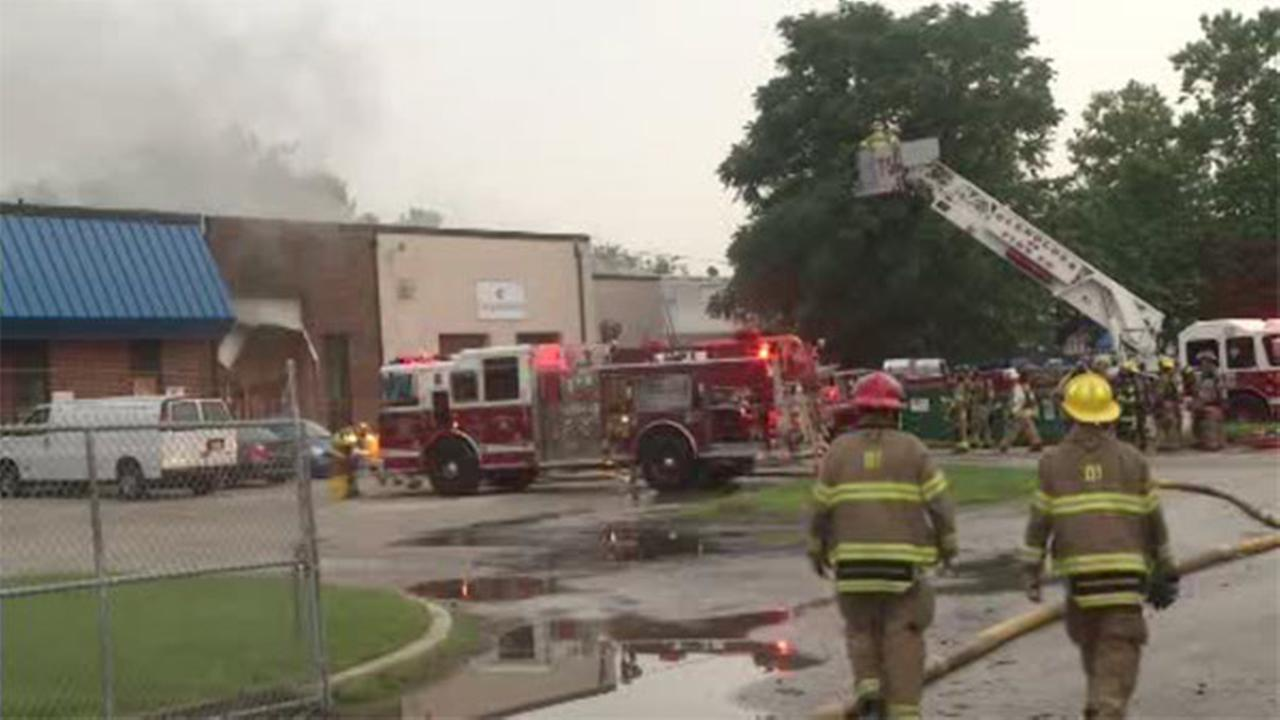 Fire rips through industrial building in Delaware County