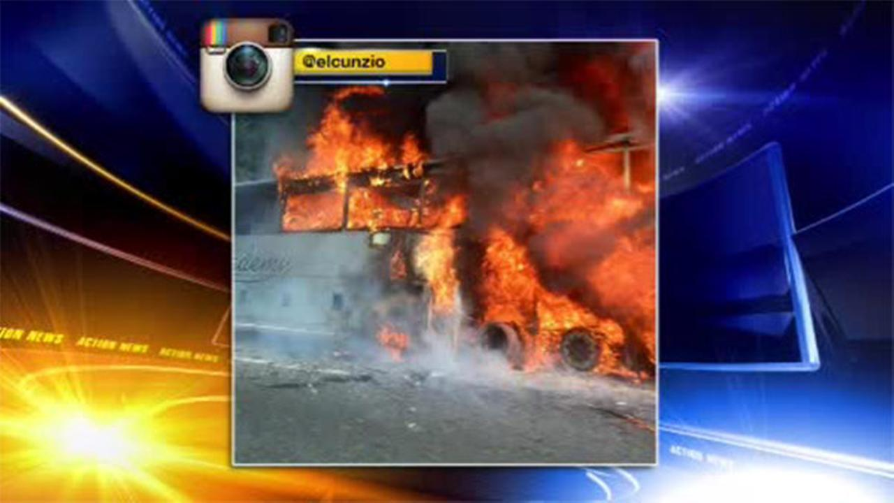 Tour bus catches fire on New Jersey Turnpike