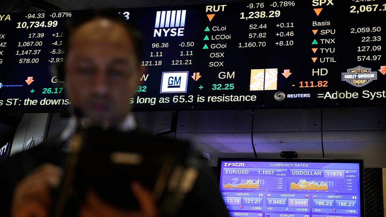 Screens display financial information on the floor at the New York Stock Exchange in New York, Wednesday, July 8, 2015. (AP Photo/Seth Wenig)