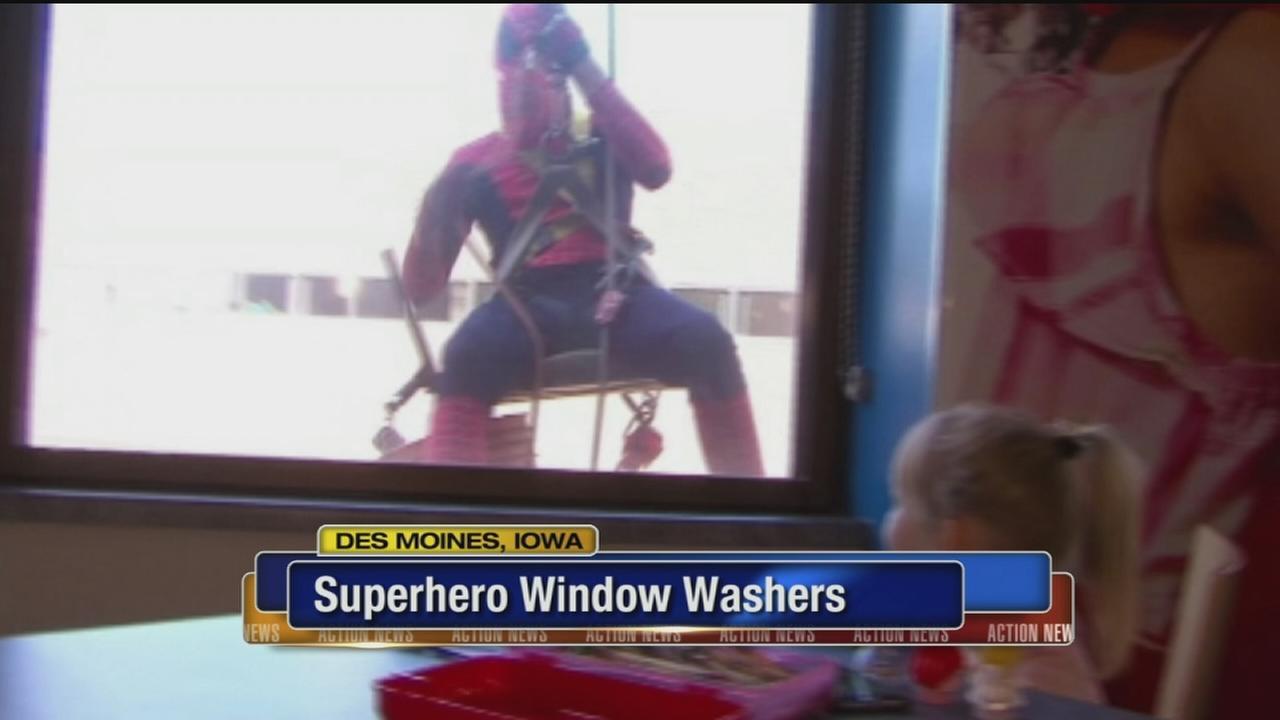VIDEO: Superhero window washers