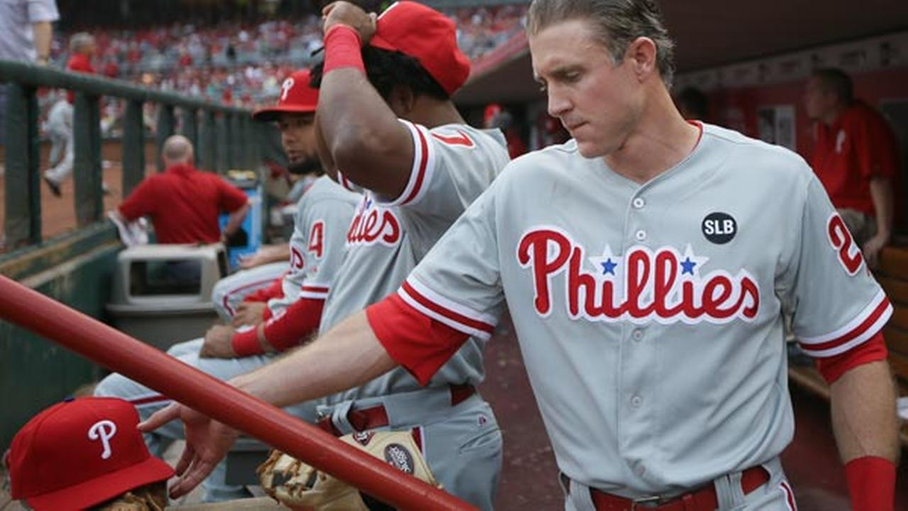 Philadelphia Phillies Chase Utley prepares to take the field during a baseball game against the Cincinnati Reds, Tuesday, June 9, 2015, in Cincinnati.