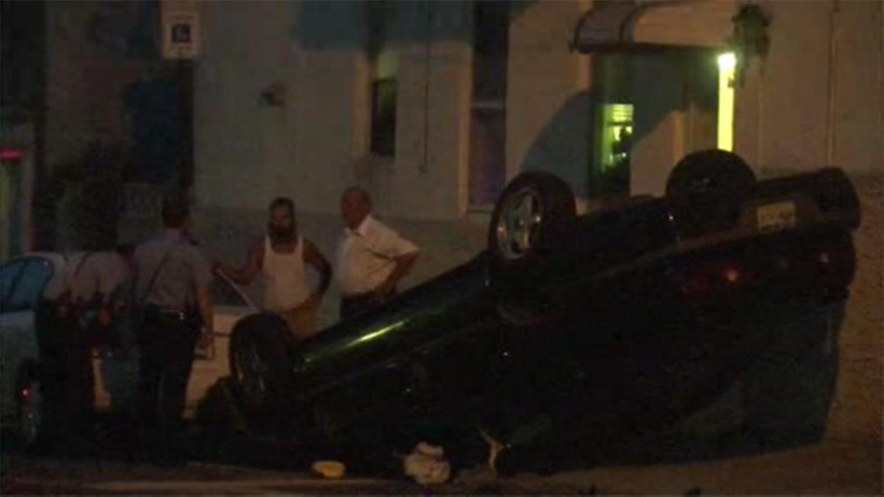 1 injured after car crashes, overturns in Frankford