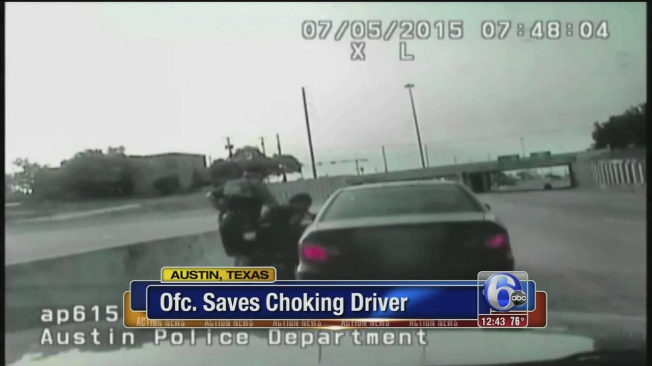 VIDEO: Police officer saves choking driver