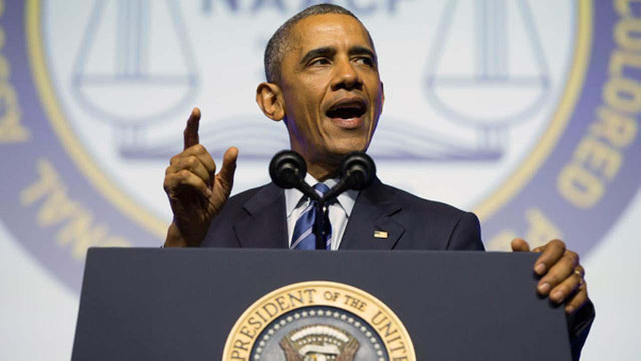 President Barack Obama speaks at the NAACPs 106th national convention at the Philadelphia Convention Center, on Tuesday, July 14, 2015, in Philadelphia.