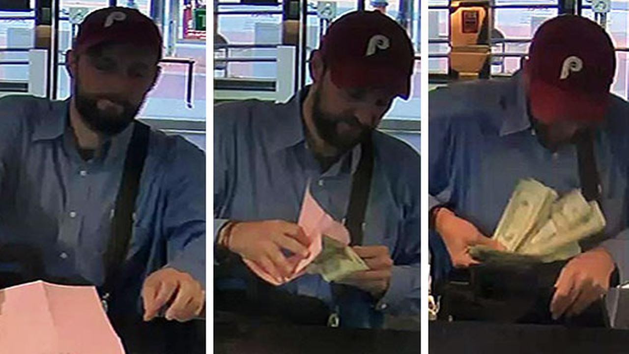Bank bandit caught on camera in Center City Philadelphia