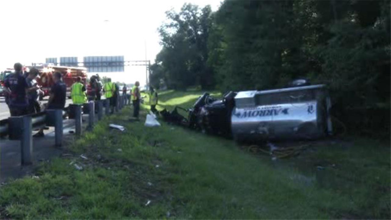 Driver facing charges in tanker truck crash on I-95 in Newport, Delaware