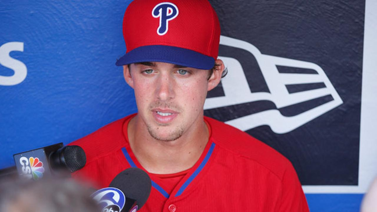 Philadelphia Phillies starting pitcher Aaron Nola takes questions from the media prior to the first inning of a baseball game against the Tampa Bay Rays, Monday, July 20, 2015.