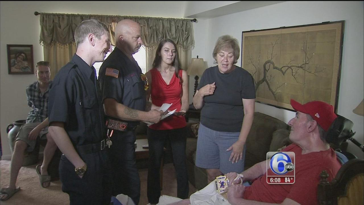 VIDEO: Firefighters meet family of waitress who paid for meal