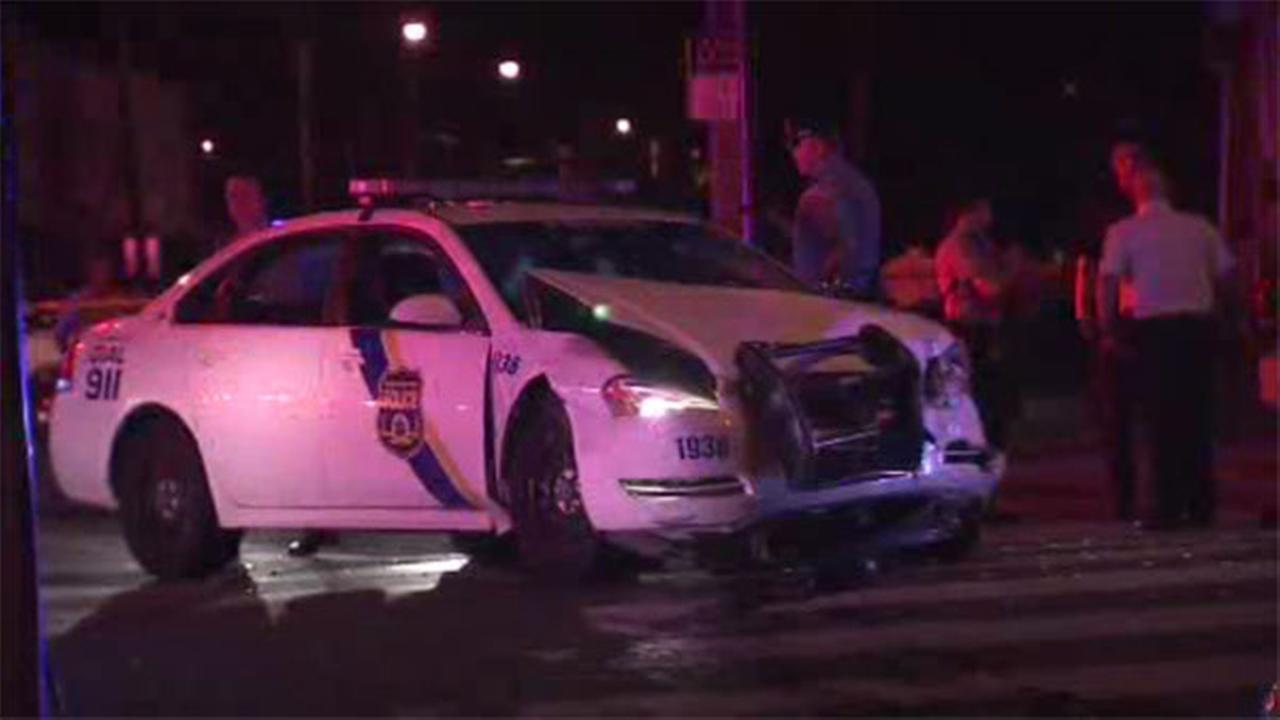 Police cruiser and taxi-cab collide in West Philly