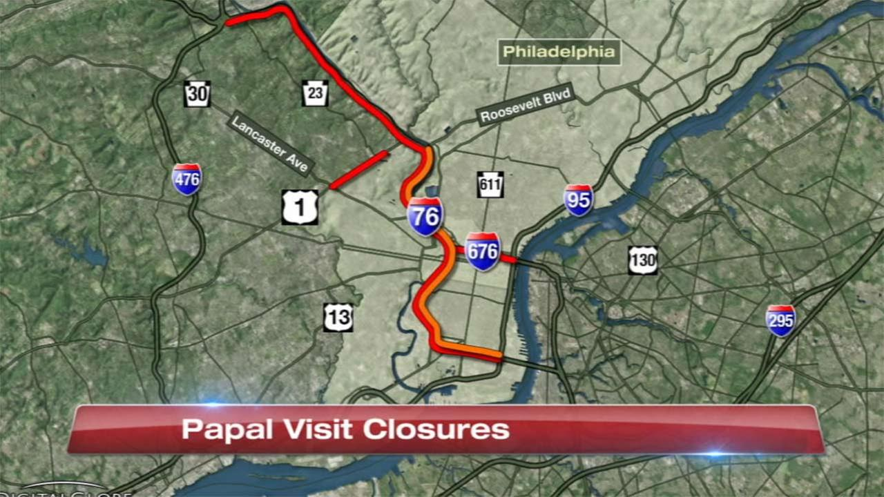 Major highway closures in Philadelphia for papal visit
