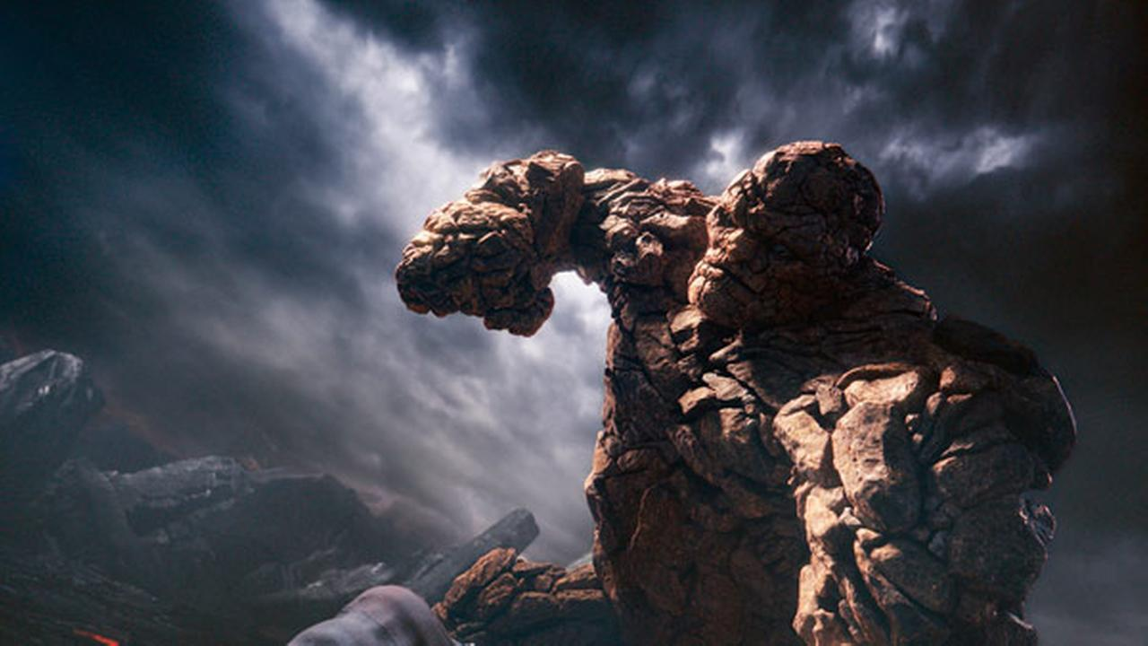 This photo provided by courtesy Twentieth Century Fox shows, The Thing, in a scene from the film, Fantastic Four, releasing in U.S. theaters on Aug. 7, 2015.