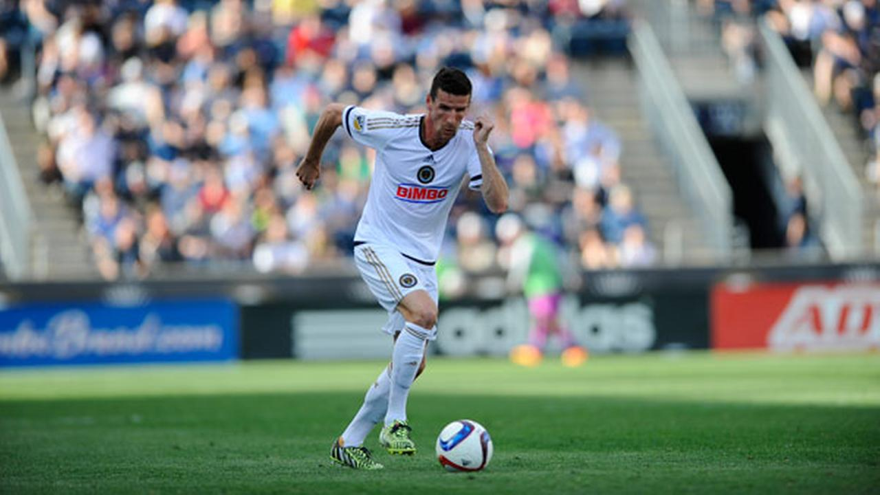 FILE: Philadelphia Union forward Sebastien Le Toux (9) is seen during an MLS soccer match against the Toronto FC, Saturday, May 2, 2015, in Chester, Pa.