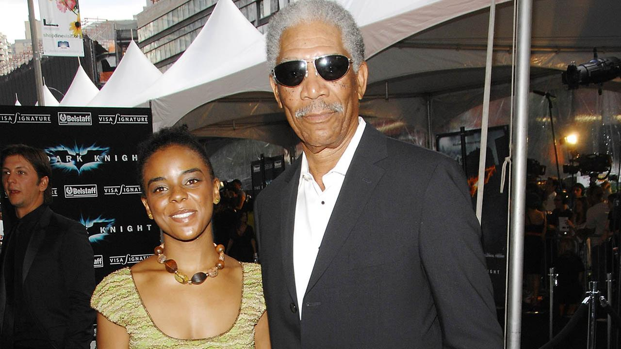 Actor Morgan Freeman and granddaughter Edina attend the world premiere of The Dark Knight