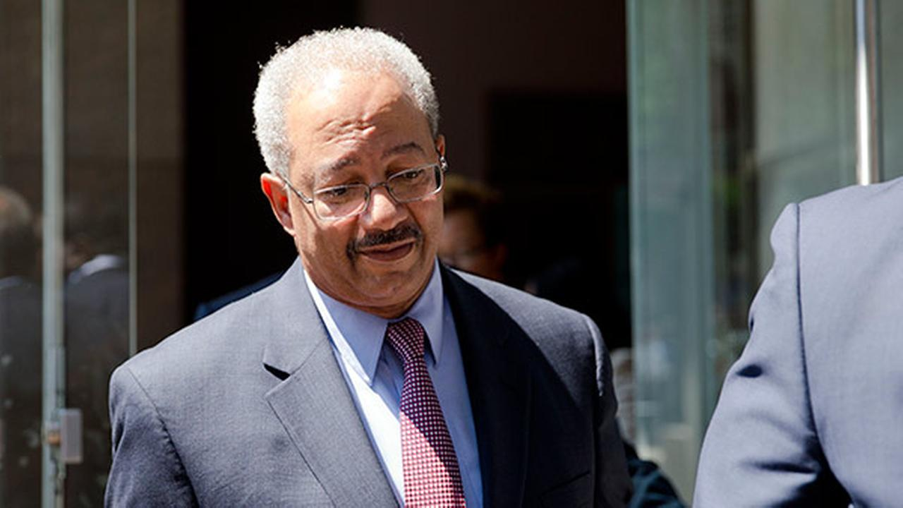 Rep. Chaka Fattah, D-Pa., exits the federal courthouse Tuesday, Aug. 18, 2015, in Philadelphia.