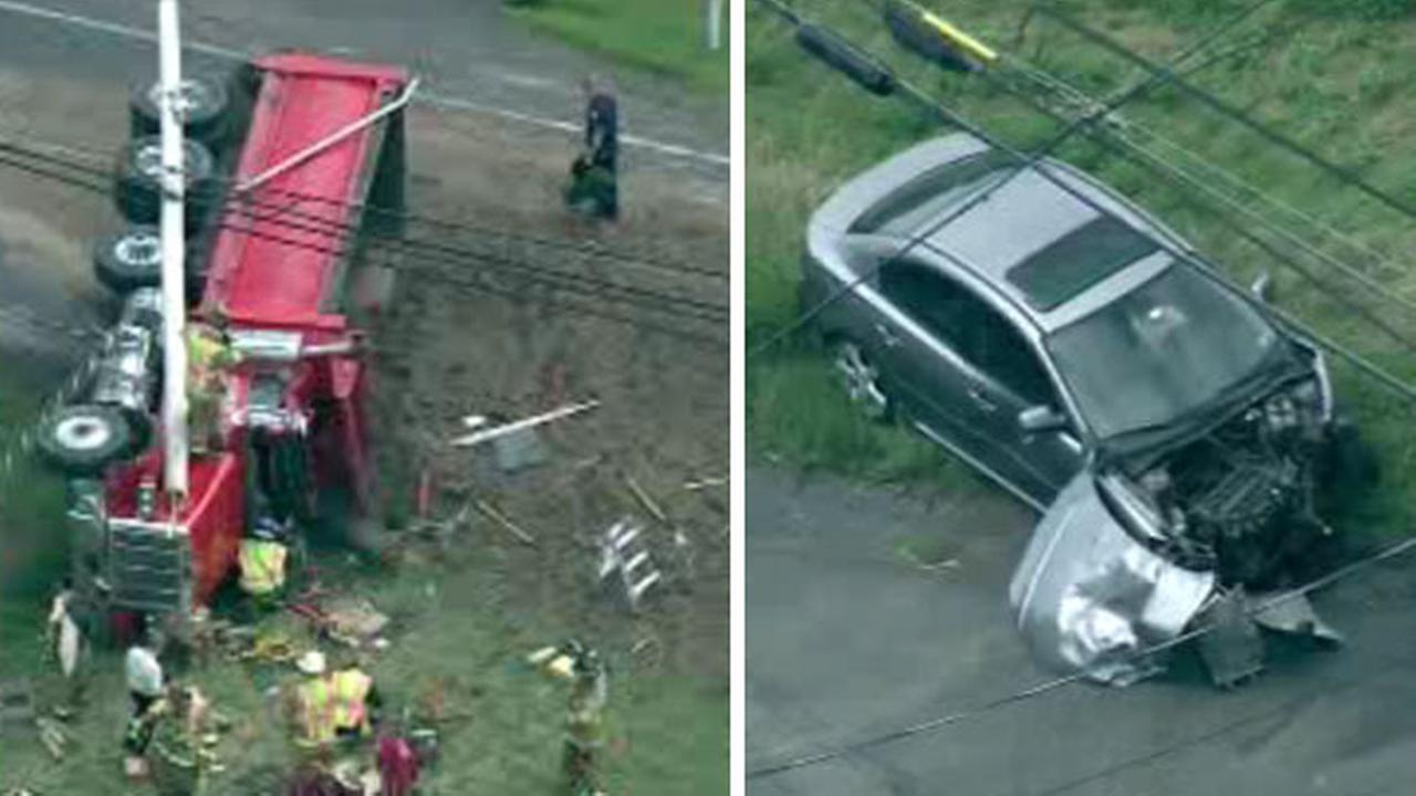 Dump truck and car involved in Bucks Co. crash