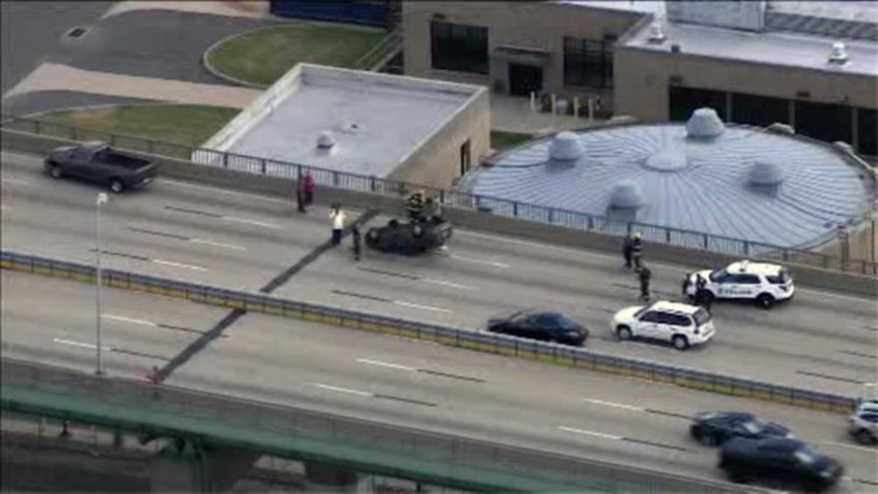 Car flips on Walt Whitman Bridge into NJ
