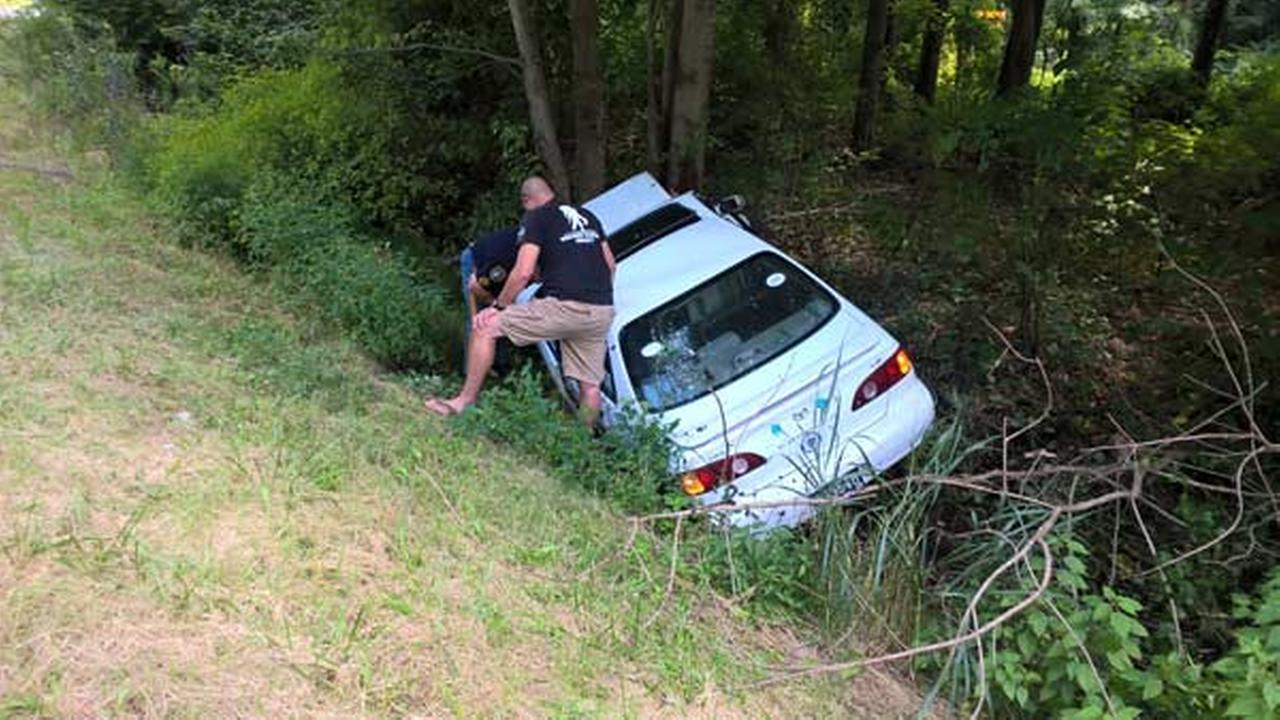 2 rescued from car after driver crashes into tree