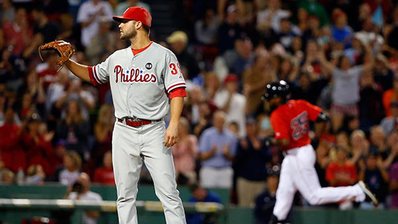 Philadelphia Phillies starting pitcher Adam Morgan waits to get a new ball back after giving up a home run to Boston Red Soxs Jackie Bradley Jr.