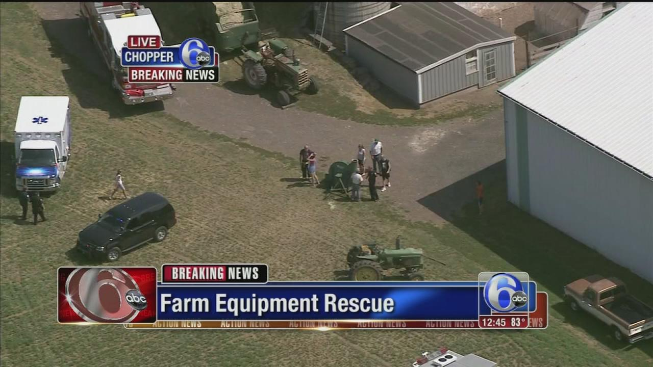 VIDEO: Man rescued after industrial mishap