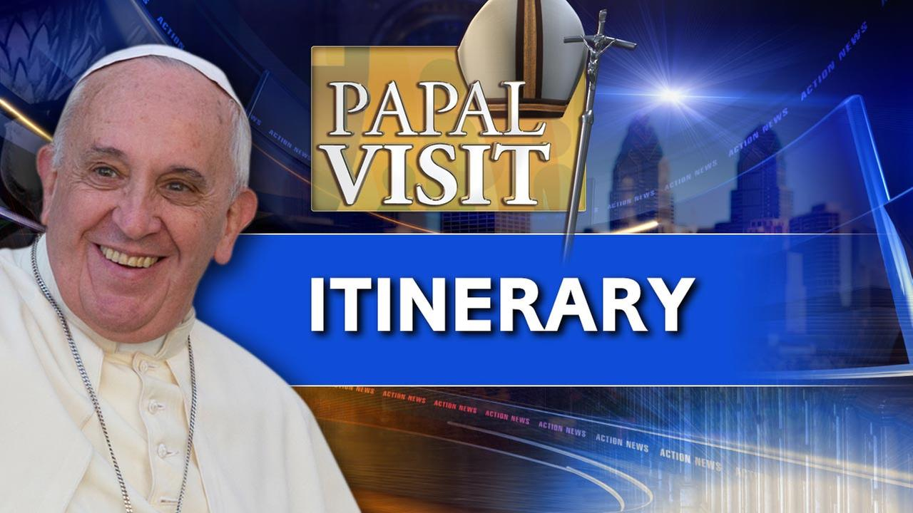 Itinerary: Here's Pope Francis' plans for Sunday in Philadelphia