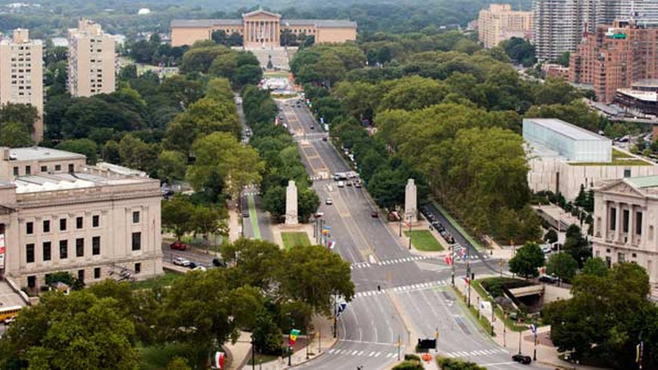 FILE - In this July 30, 2015, file photo, viewed from the Embassy Suites hotel, traffic moves along the Benjamin Franklin Parkway leading to the Philadelphia Museum of Art.