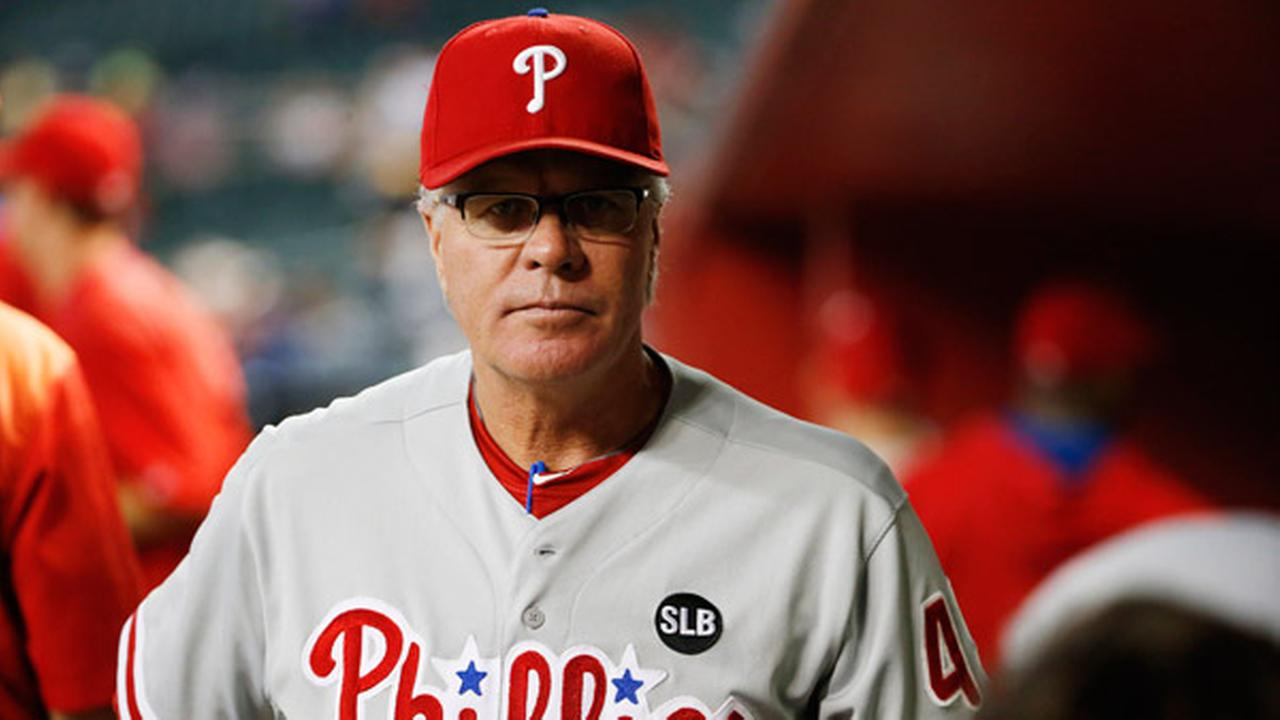 Philadelphia Phillies manager Pete Mackanin paces in the dugout prior to a baseball game against the Arizona Diamondbacks Tuesday, Aug. 11, 2015, in Phoenix.