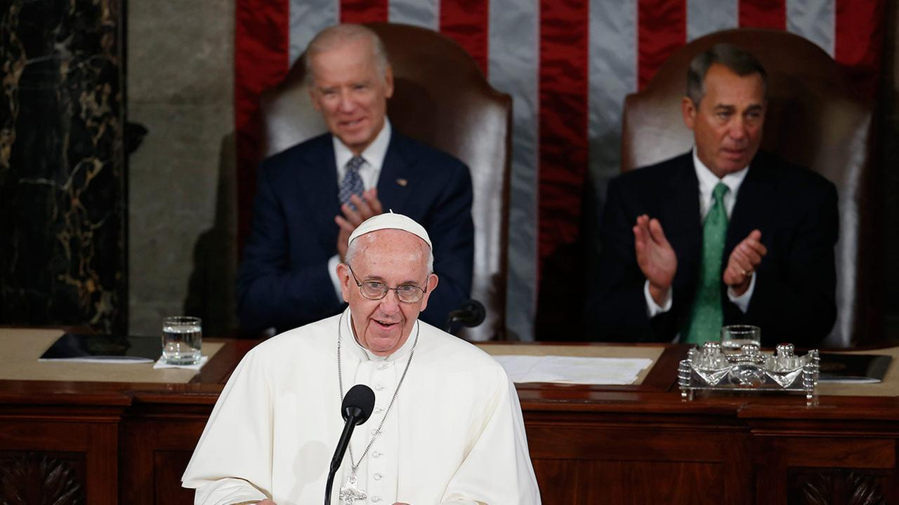 Pope Francis addresses a joint meeting of Congress on Capitol Hill in Washington, Thursday, Sept. 24, 2015