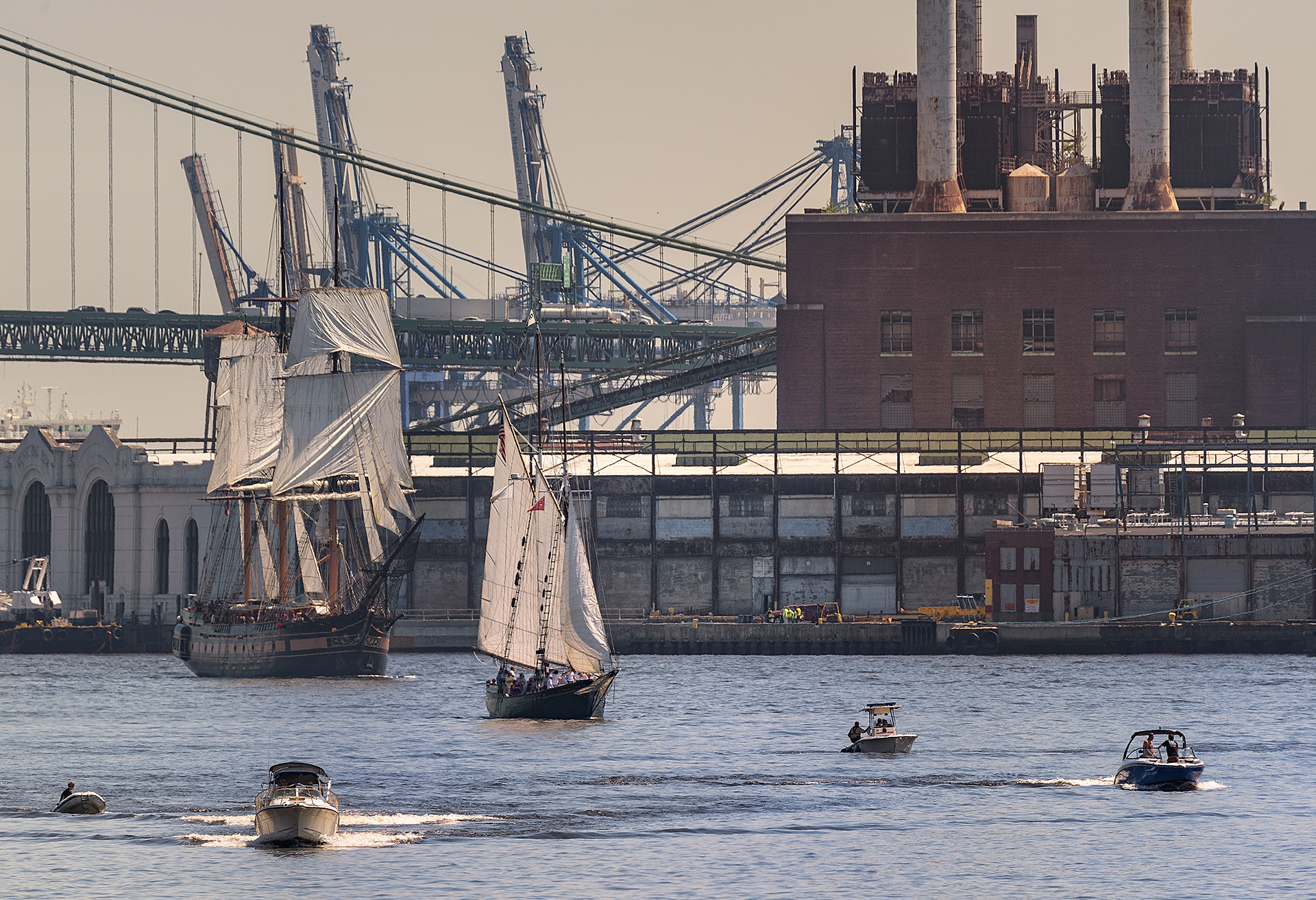 Images from the Tall Ships Parade of Sail along Penns Landing and Camden Waterfront.
