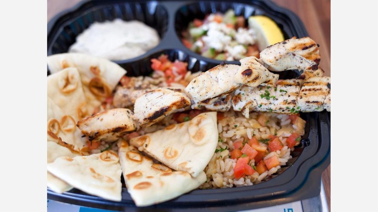 Chicken skewer plate from Yiro Yiro.   Photo: Chris A./Yelp