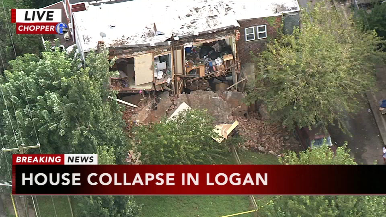 Chopper 6 over a house collapse in Logan, as seen on Action News at 4 p.m., September 18, 2018