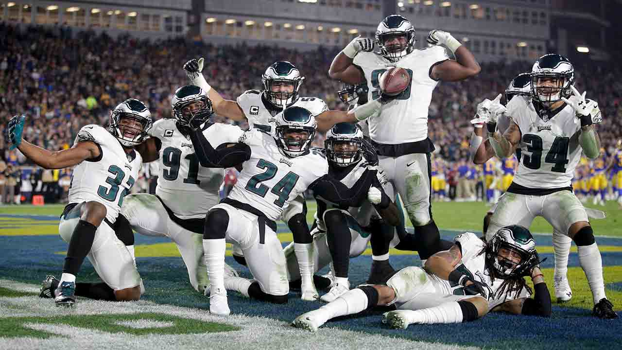 Philadelphia Eagles Corey Graham (24) celebrates with teammates after recovering a fumble by Los Angeles Rams qb Jared Goff during the second half Dec. 16, 2018, in Los Angeles.