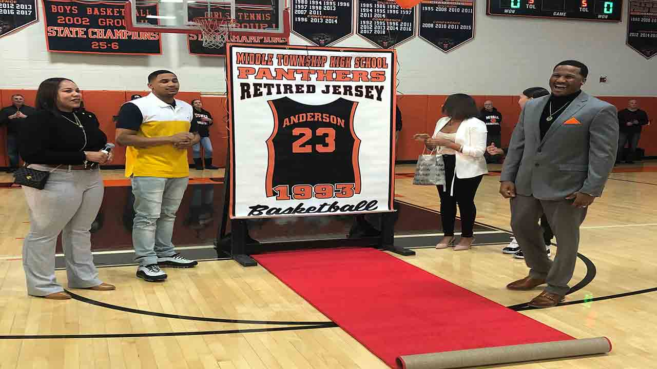 Middle Township High School honors former state champions, retires Stefano Anderson's jersey