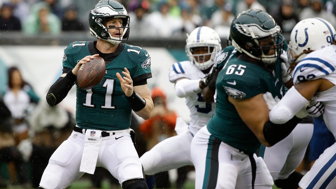 Philadelphia Eagles Carson Wentz in action during the second half of an NFL football game against the Indianapolis Colts, Sunday, Sept. 23, 2018, in Philadelphia.
