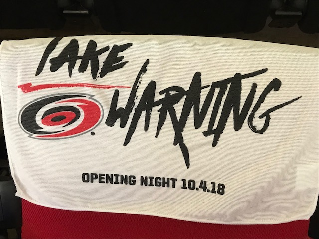 The calm before the storm: PNC Arena is outfitted for the Carolina Hurricanes opening night.