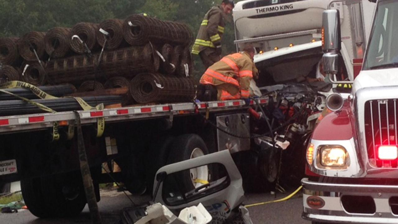 Weather made rescue efforts more difficult Tuesday morning when a box truck collided with a tractor trailer on Interstate 40 in Johnston County.
