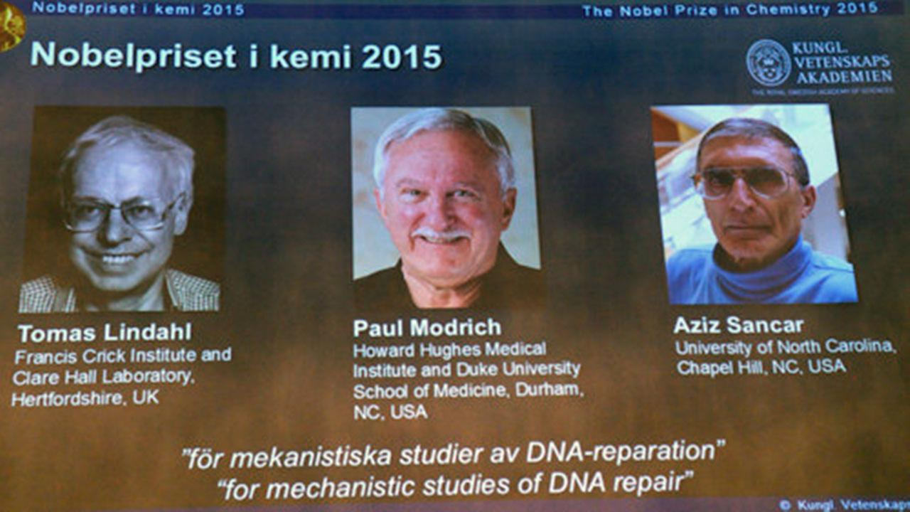 Swedens Tomas Lindahl, American Paul Modrich and U.S.-Turkish scientist Aziz Sancar